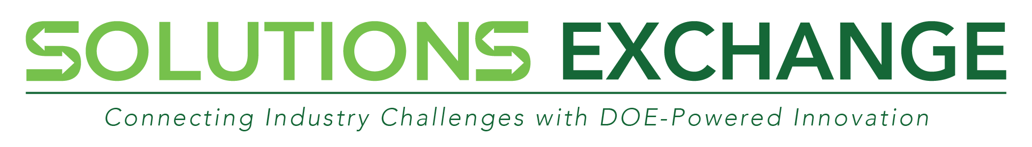 logo for the solutions exchange. green text saying solutions exchange